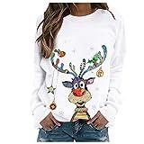 Women Christmas Sweatshirt O-Neck Pullover Tops Novelty Funny...