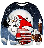 IDGREATIM Mens Ugly Christmas Pullover Santa Claus Crewneck...