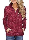 Smile Fish Women's Red Christmas Sweatshirts Top 1/4 Zip...