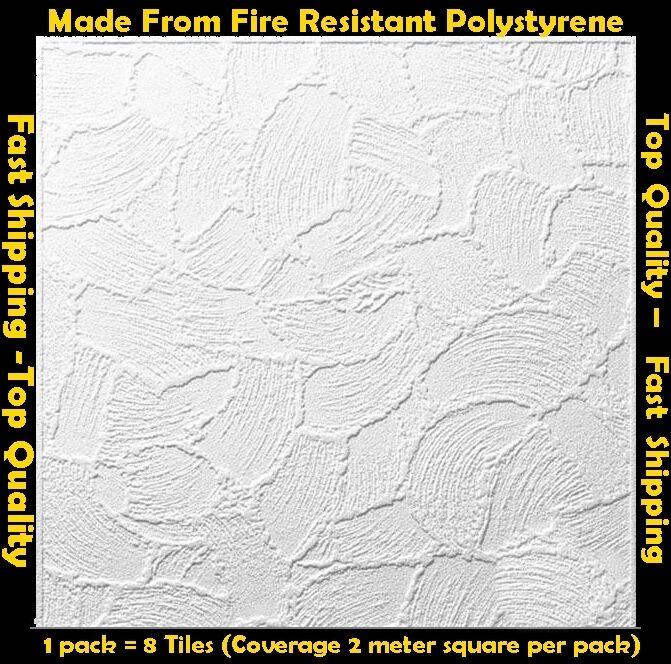 2M² Polystyrene Ceiling Tile Flame Retardant Fire Resistant Valencia 1 Pack
