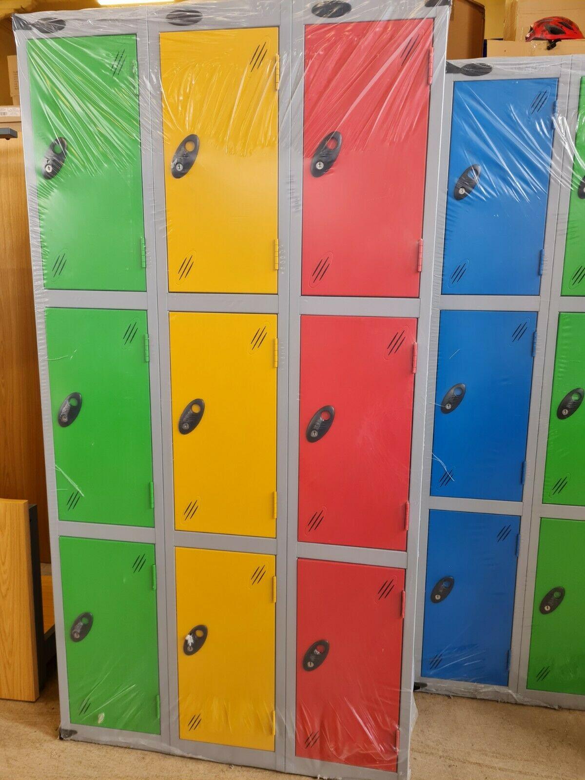 3 door lockers in blocks of 3 gym school factory personal. £150 plus vat.