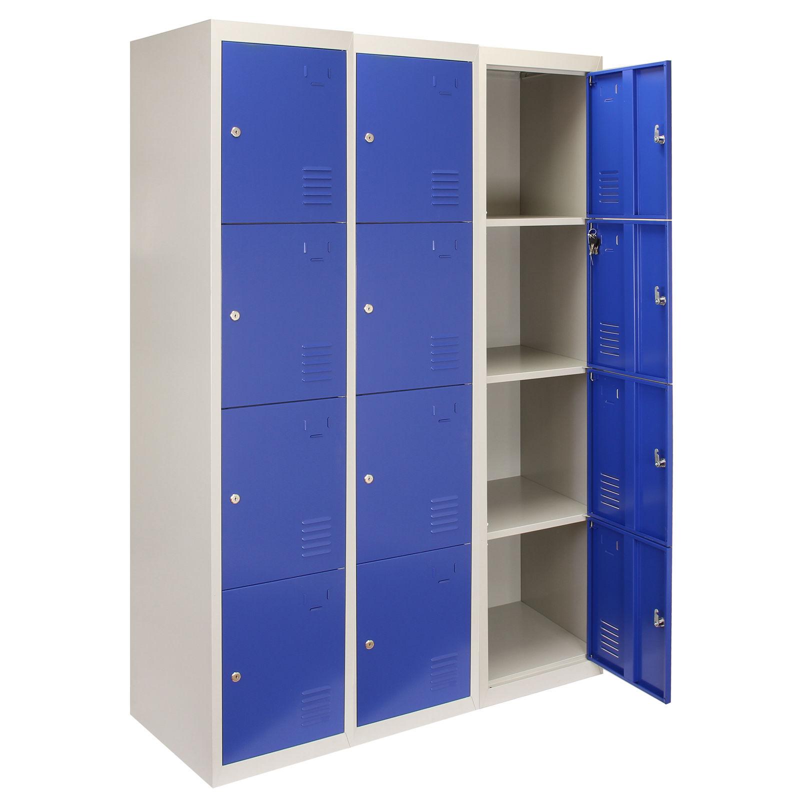 3x Metal Lockers 4 Door Steel Staff Locker Gym Changing Room Lockable Storage