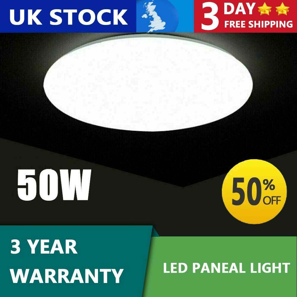 50W Bright LED Ceiling Down Cool White Light Panel Wall Kitchen Bathroom Lamps
