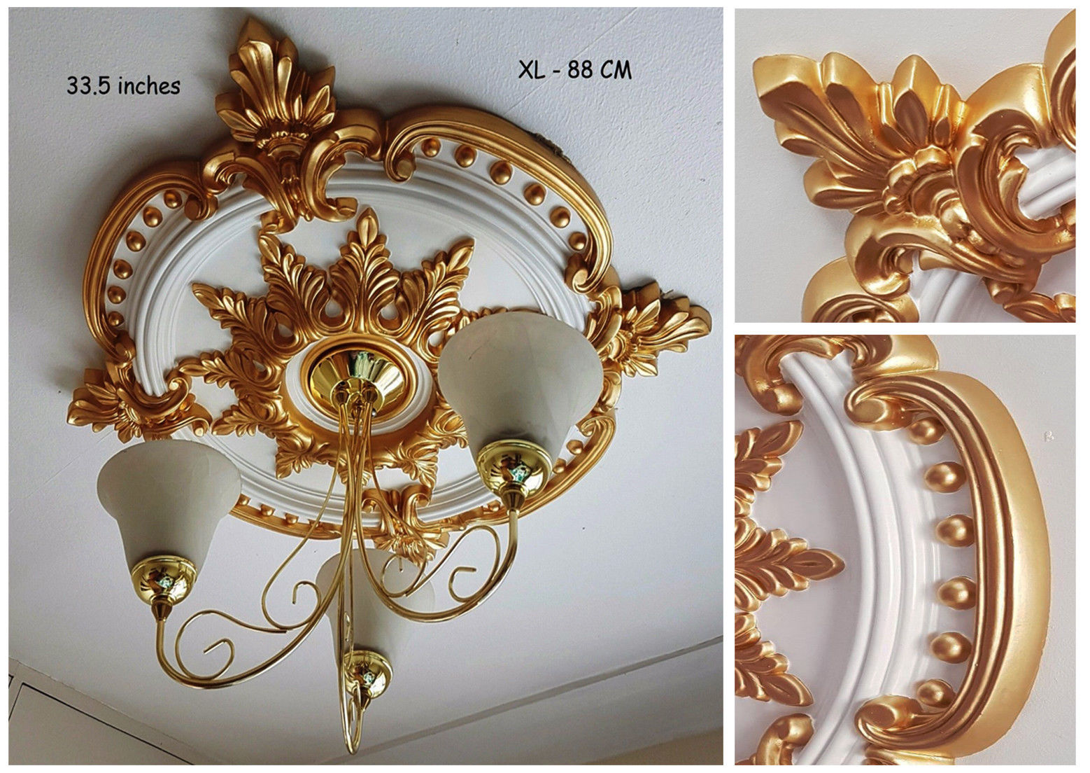 85CM LARGE Ceiling Rose Beautiful GOLD Ornate Home Decor Medallion HUGE CR7G-XL
