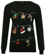 Christmas Jumper Ladies Womens Xmas Santa Sequin Sweater Festive Pullover Top UK