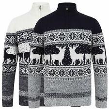 Christmas Jumper Mens Xmas Funnel Zip Neck Sweater Nordic Ski Reindeer Fairisle