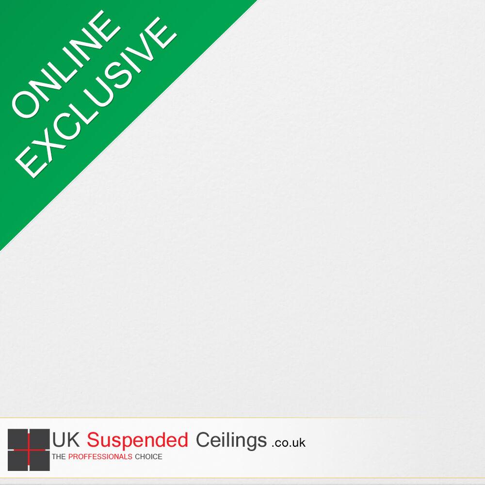 Easy Clean Suspended Ceiling Tiles x8, White Vinyl 595x595mm Square Edge 600x600