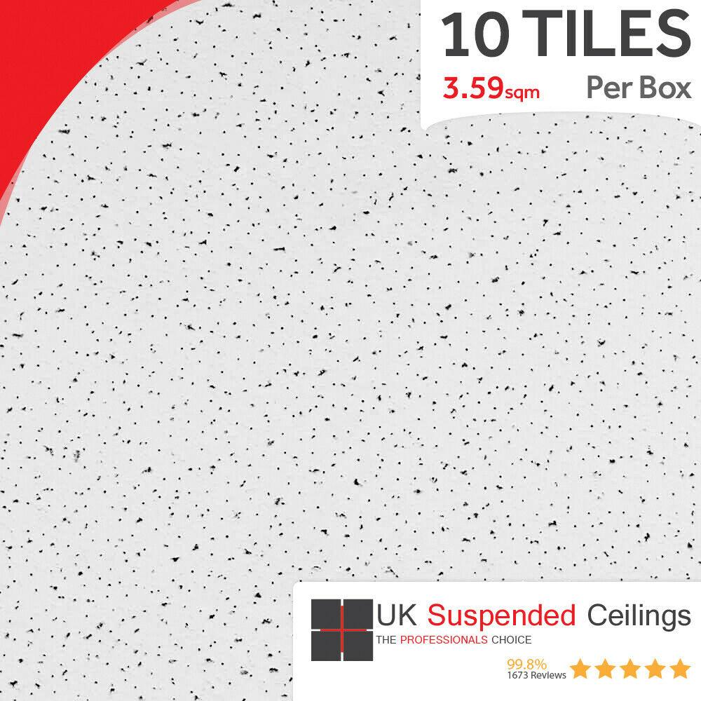 Fine Fissured Suspended Ceiling Tiles Square Edge 595x595mm 10 Per Box 600x600