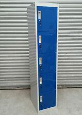 HIGH QUALITY 5 DOOR STEEL METAL BLUE GREY GYM WORK LOCKERS 180x38x42cm RRP £150