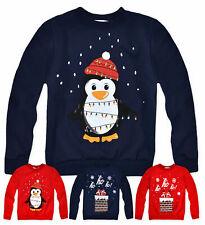Kids Christmas Jumper New Boys Girls Xmas Santa Penguin Sweatshirt Ages 3-13 Yrs