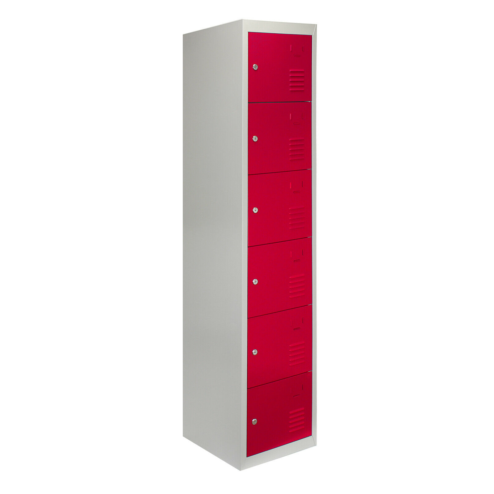 Locker Metal Steel Storage Lockers Gym 6 Door Changing Room School Lockable Red