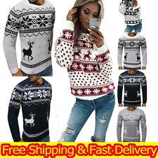 Men Women Santa Xmas Christmas Novelty Retro Jumper Reindeer Sweater Tops Unisex