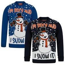 Men's Christmas Funny Novelty Jumper Sexy Snowman Thin Knit Xmas Sweater New