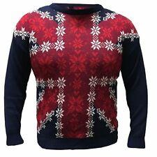 Mens Jumper Union Jack Christmas Xmas UK Flag Novelty Sweater UK Snowflake Wintr