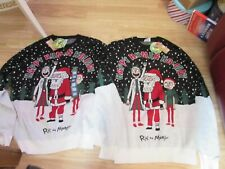 MEN'S RICK AND MORTY HAPPY HUMAN HOLIDAY CHRISTMAS THEMED JUMPER BY PRIMARK