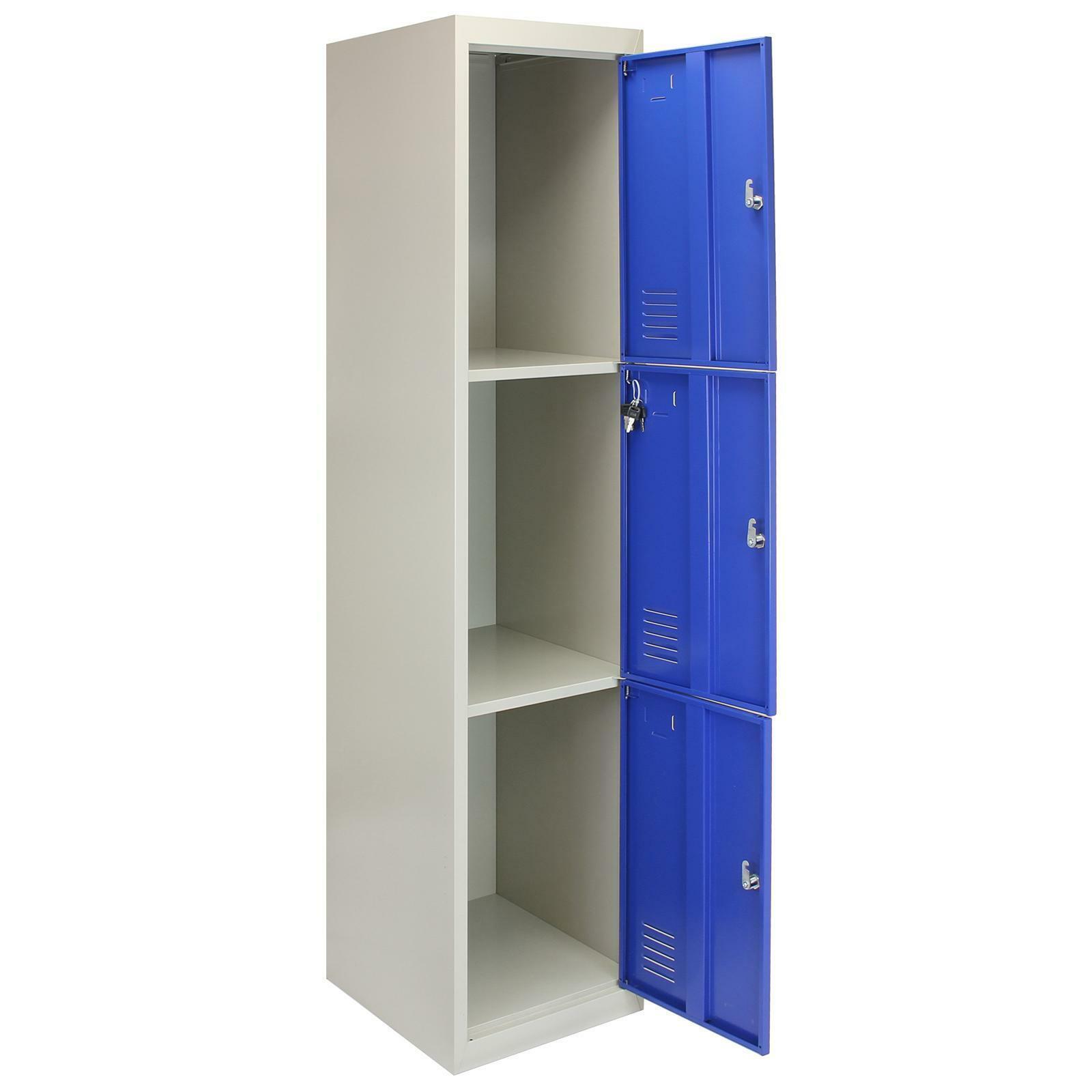 Metal Steel Staff 3 Door Lockers Locker Storage Gym Changing Room Blue 45cm