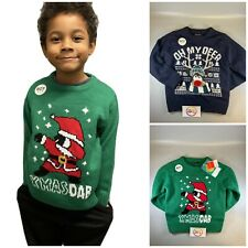 New Kids Boys Xmas Christmas reindeer Jumper Sweater Knitted funny dab Novelty