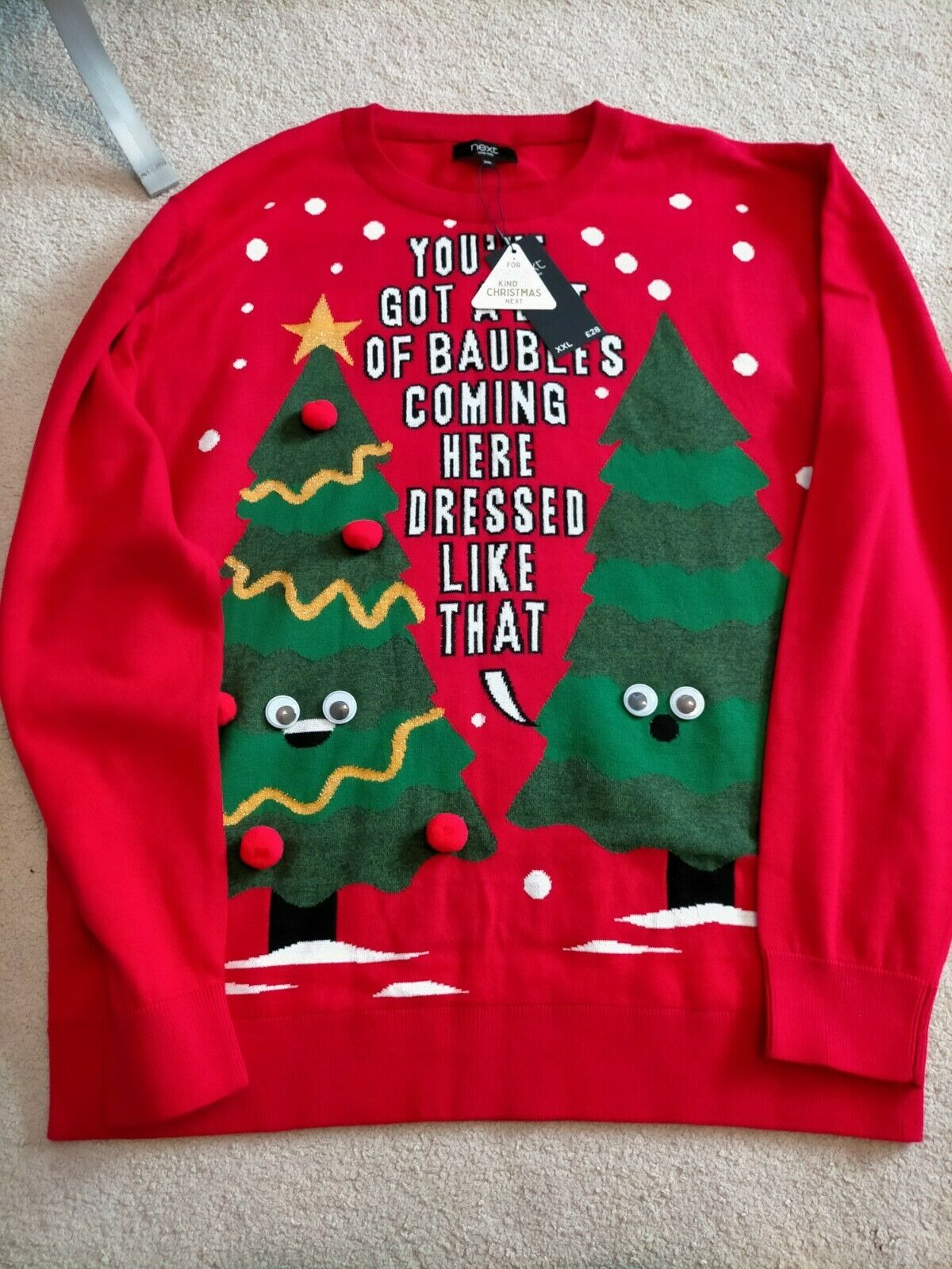 NEXT Men's Red Bauble Novelty Funny Christmas Tree Jumper Gift XXL 2XL BNWT