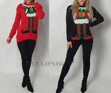 Unisex Christmas Jumper Ladies Xmas Hood Novelty Santa Elf Sweater Festive Funny