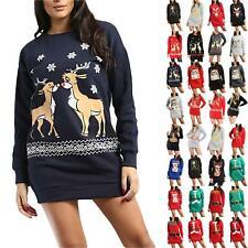 Women Ladies Christmas Fleece Rudolph Snow Falling Jumper Tunic Sweatshirt Dress