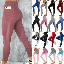 Womens High Waist Gym Leggings Pocket Fitness Sports Running Train Yoga Pants N8