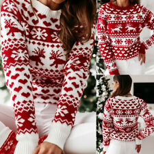 Womens Holiday Xmas Tops Blouse Ladies Christmas Knit Jumper Sweater Tops Tee UK